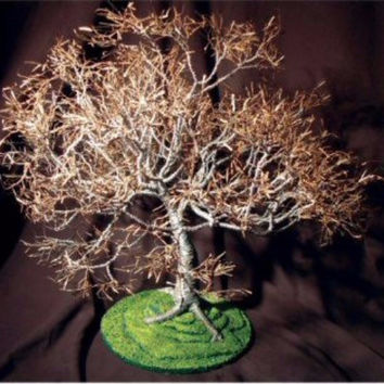 Wire Bonsai Tree Sculpture - Dogwood on Lawn 19Hx19Wx21D