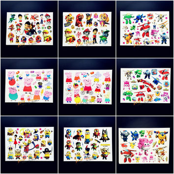 25 Style New Puppy Dog Team Children Toys Cute Minions Kids Tattoo Stickers Xmas Pinky Pigs Family Tattoo Child Free Shipping