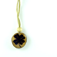 Four Leaf Clover Pendant | Wood Burned Pendant | St. Patrick's Day Pendant | Lucky Charm Pendant | Sycamore Tree Slice | Holiday Jewelry