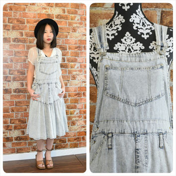 Vintage 90s Acid Washed Denim Overall Skirt