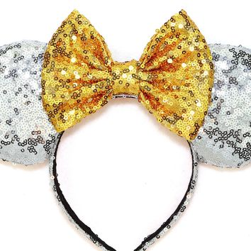 Silver Sequin Ears and Gold Bow