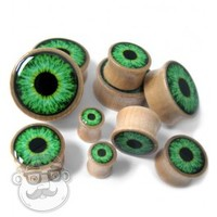 Green Eyeball Logo Inlay Wood Plugs (0G - 1 Inch) | UrbanBodyJewelry.com