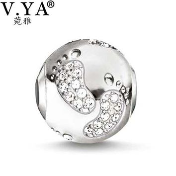 Baby feet Design Beads fit Pandora Necklace Bracelet for Women Men Lovely Pattern Crys
