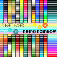INSTANT DOWNLOAD -- Retro Striped Rainbow Digital Paper Collection -- Multi Colors -- JPEG -- Custom Design
