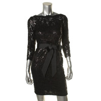 Tadashi Shoji Womens Petites Sequined 3/4 Sleeves Cocktail Dress