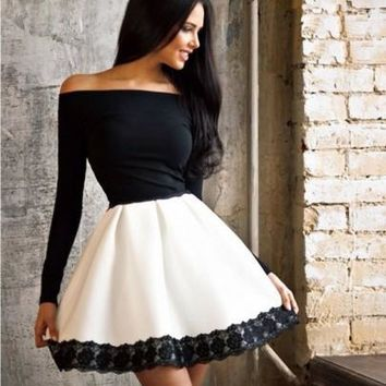 Black-White Patchwork Lace Boat Neck Homecoming Teenager Cute Midi Dress