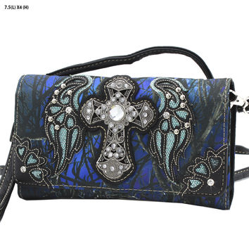 Blue Mossy Camo Wing and Cross Wallet