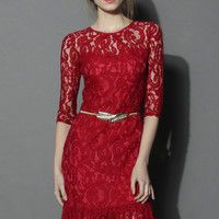 Red Belted Full Lace Midi Dress  Red