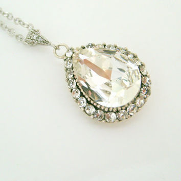art deco wedding necklace white teardrop designed by xxyz on Etsy