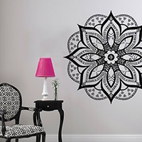 Mandala Wall Decal Vinyl Sticker Decals Lotus Flower Yoga Namaste Indian Ornament Moroccan Pattern Om Home Decor Bedroom Art Design Interior NS534