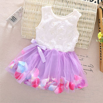 Girl's Toddler Lace Tulle Tutu Dress with Flower Petals