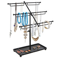 Black Metal 3 Tier Countertop Jewelry Hanger Tree Rack / Necklace & Bracelet Organizer w/ Ring Tray