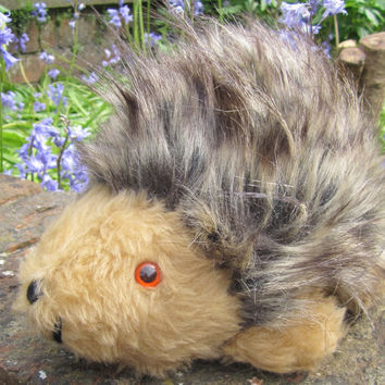 Mommy Hedgehog Art Doll Brown Plush Faux Fur Kids Playmate Cream Black Flecked Furry Pram Cot Toy for Boy or Girl