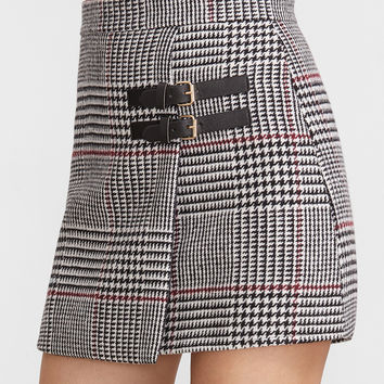 Houndstooth Plaid Trim Skirt