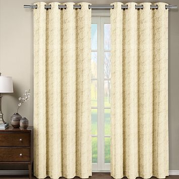 BEIGE 52x96 Tabitha Jacquard Grommet Top Curtain Panel (Single)