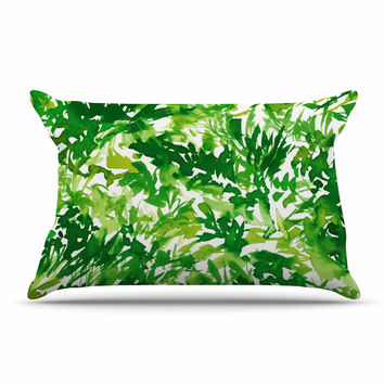 "Ebi Emporium ""In The Meadow 1 - Green White "" Abstract Painting Pillow Case"