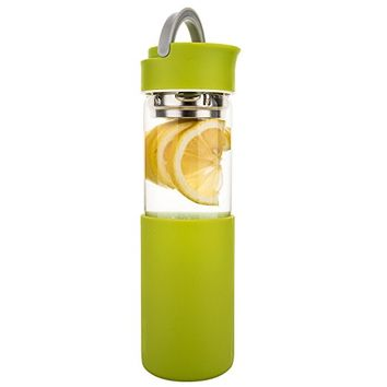 Life4u Borosilicate Glass Tea and Fruit Infused Water Bottle With Silicone Sleeve & Removable Strainer, 17oz