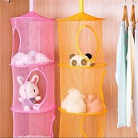 New Hanging Polyester Mesh Storage Basket Toys Organizer 3 Compartments