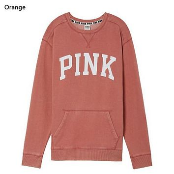 Victoria Pink New fashion letter print long sleeve top sweater Orange