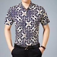 Summer Print Cotton Shirt Men Short Sleeve Blouse [6541376643]