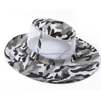Camo Bucket Hat w/Breathable Mesh Great for Fishing and Outdoor Activities