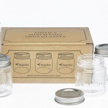 "Smiths Mini Mason Jar set of 6 ""Chupito"" Shot Glasses with Lids - 2oz Per Sho..."