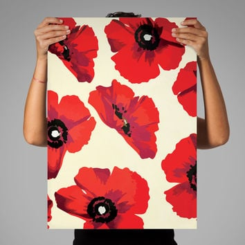 Poppy abstract art print Illustration Art Print Giclee on Cotton Canvas and Paper Canvas Poster Wall Decor