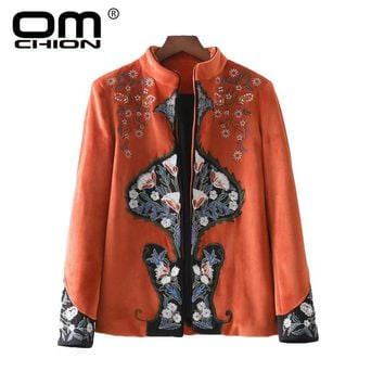 New Vintage Indie Folk Autumn Winter Jacket Floral Embroidery Overcoat Long Sleeve Stand Collar Women Coats