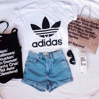classic white adidas swag sexy style crop top tshirt fresh boss dope celebrity festiva