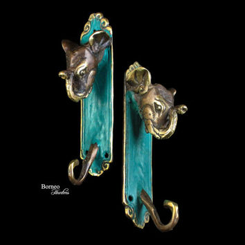 Coat Hook,Key Holder-Decorative Elephant Theme Coat Hanger-Handcast Brass Sculpture Coat Rack-Raised Trunk,Good Luck Elephant 15CM(set of 2)