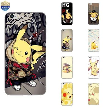 Phone Case For Apple iPhone 7 Plus Shell 5 5C SE 6 6S Plus Back Cover 4.7 5.5 Inch Cellphone Soft TPU Lovely Pikachu Design