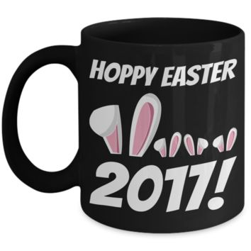 Happy Easter Bunny Ears Mug Black Coffee Cup For Easter 2017 2018 Gifts For Him Her Family Grandparent Grandma Granddad Wive Husband Couples Funny Sayings Holiday Tea Coffee Mugs Cups Hoppy Easter 2017
