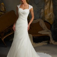 Blu by Mori Lee 5103 Simple Chiffon Wedding Dress