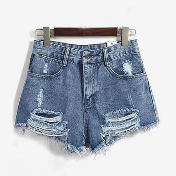 European and American BF summer wind female blue high waist denim shorts women worn loose burr hole shorts