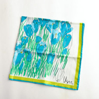 Vintage Vera scarf blue green crocuses – Vera Neumann scarf – vintage floral scarf – spring summer accessory – Mother's Day gift