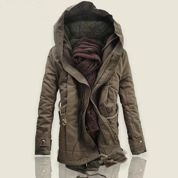 Men's Military Trench Coat Jackets Hooded Parka Thick Cotton-padded  Outwear Hip Length