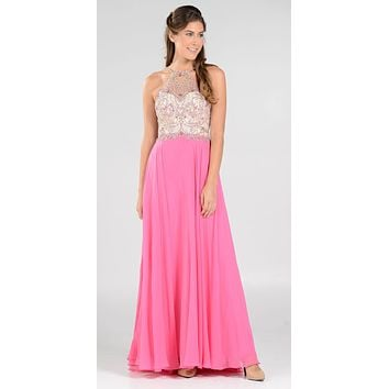 Poly USA 7826 - Halter Beaded Bodice A-Line Chiffon Long Prom Dress Hot Pink