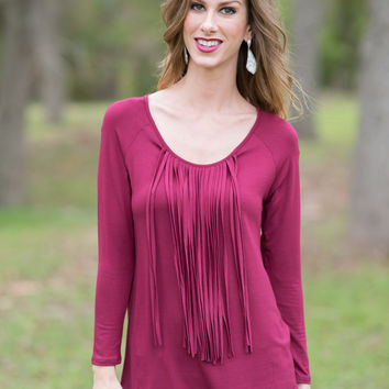 Same Old Love Fringe Top (Burgundy)