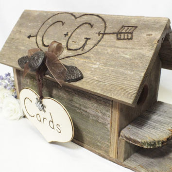 Birdhouse Wedding Card Box - Gift Card Holder - With Iron Knob And Personalization - Cottage Chic, Rustic And Burlap Wedding Decor