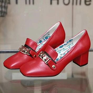 GUCCI Women Fashion Leather Low Heeled Shoes  5.5CM