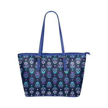 Hip Water Resistant Small Leather Tote Bags Sugar Skull #16 (5 colors)