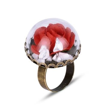 Beauty and the Beast Ring with Glass Bottle Rose Flower Shaped Adjustable Ring for Women Party Gift
