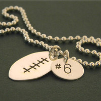 Solid Sterling Silver Football Shaped by EverythingInitials