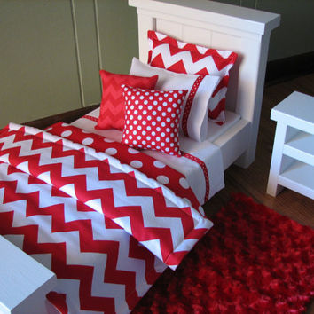 "Red Chevron Bedding Set for American Girl Doll or similar 18"" dolls"