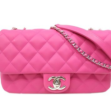 CHANEL Classic Flap Chain Shoulder Bag Quilted Lambskin Leather Pink