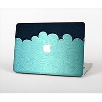 "The Aqua Green Abstract Swirls with Dark Skin Set for the Apple MacBook Pro 13"" with Retina Display"