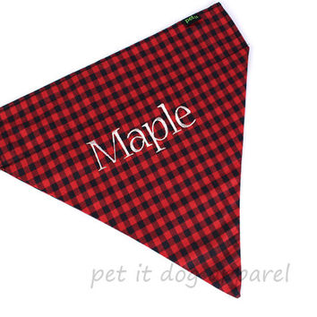 Buffalo Plaid Dog Bandana Custom Name Embroidery option Cute trendy collar accessory for pets!