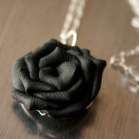 Black Rose Necklace, Polymer Clay Jewelry, Bridesmaid Jewelry