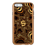 Cool brown stripped fractal. Monogram. Incipio Feather Shine iPhone 6 Case