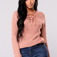Emma Rose Lace Up Sweater - Mauve